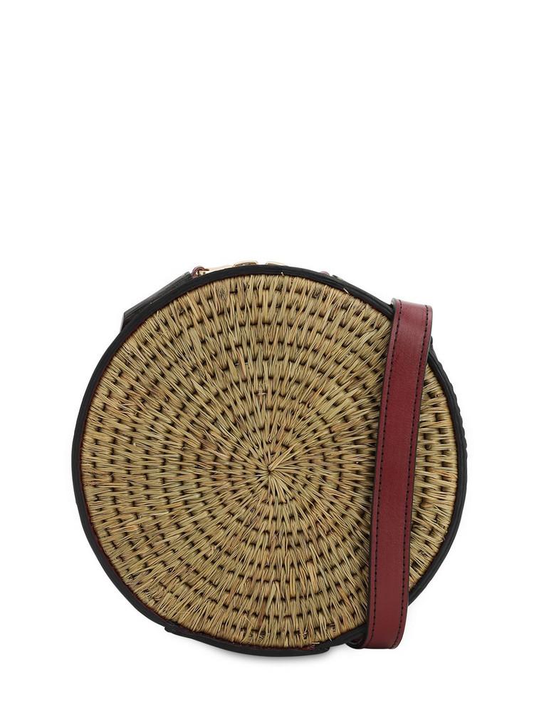 KHOKHO Sindi Raffia Circle Bag in natural / red
