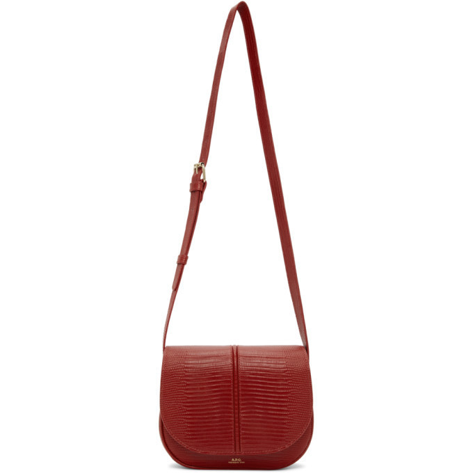 A.P.C. A.P.C. Red Lizard-Embossed Betty Bag