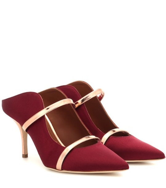 Malone Souliers Maureen satin mules in red