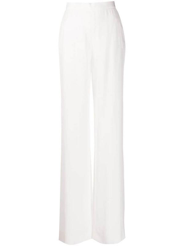 Balmain high-waisted wide-leg trousers in white