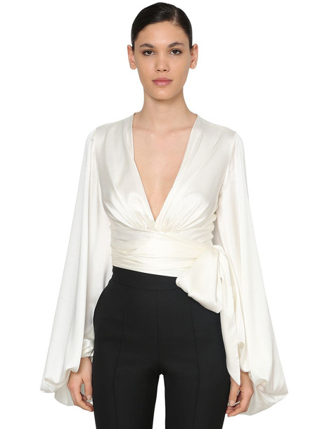 ALEXANDRE VAUTHIER Draped Stretch Satin Blouse in white