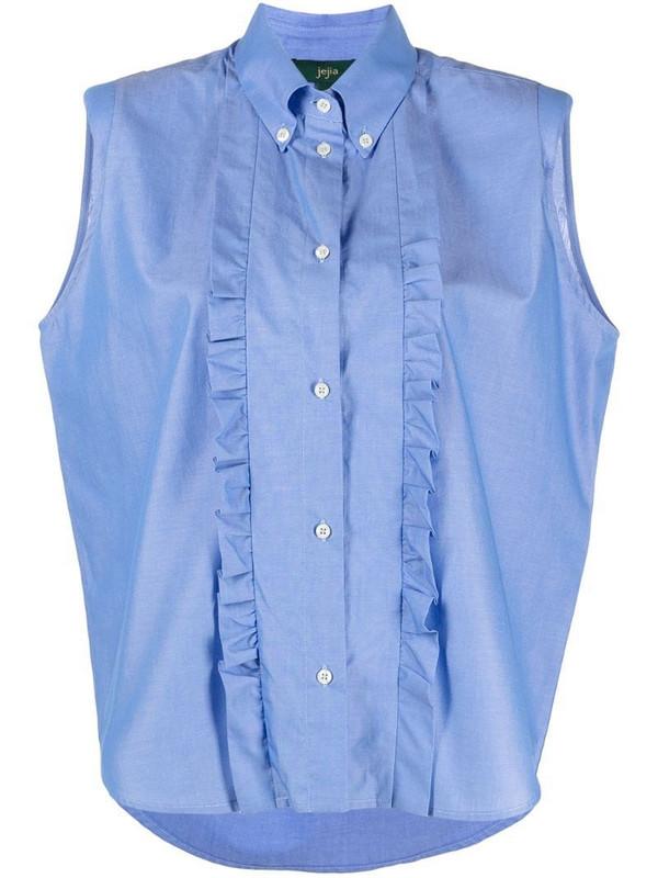 Jejia ruffle trim sleeveless shirt in blue