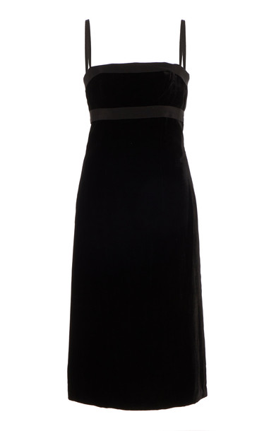 Brock Collection Grosgrain-Trimmed Velvet Midi Dress Size: 2 in black