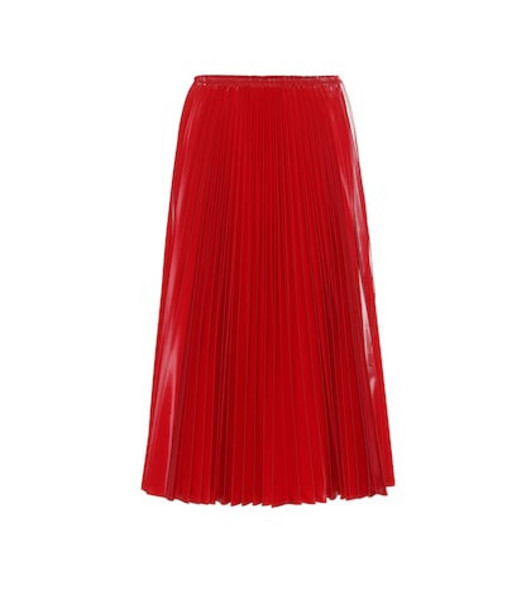 Fendi Pleated nylon midi skirt in red