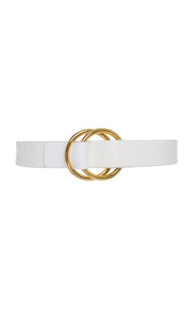 Carolina Herrera Double-Buckle Snakeskin And Leather Belt in white