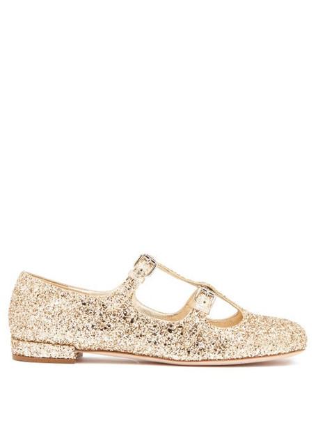 Miu Miu - Glittered Mary Jane Leather Flats - Womens - Gold