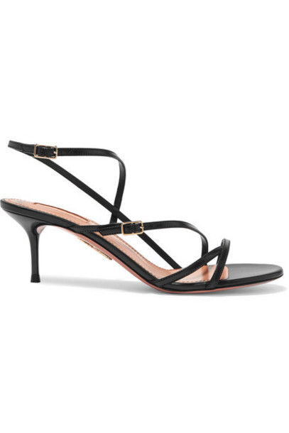 Aquazzura - Carolyne 60 Leather Sandals - Black