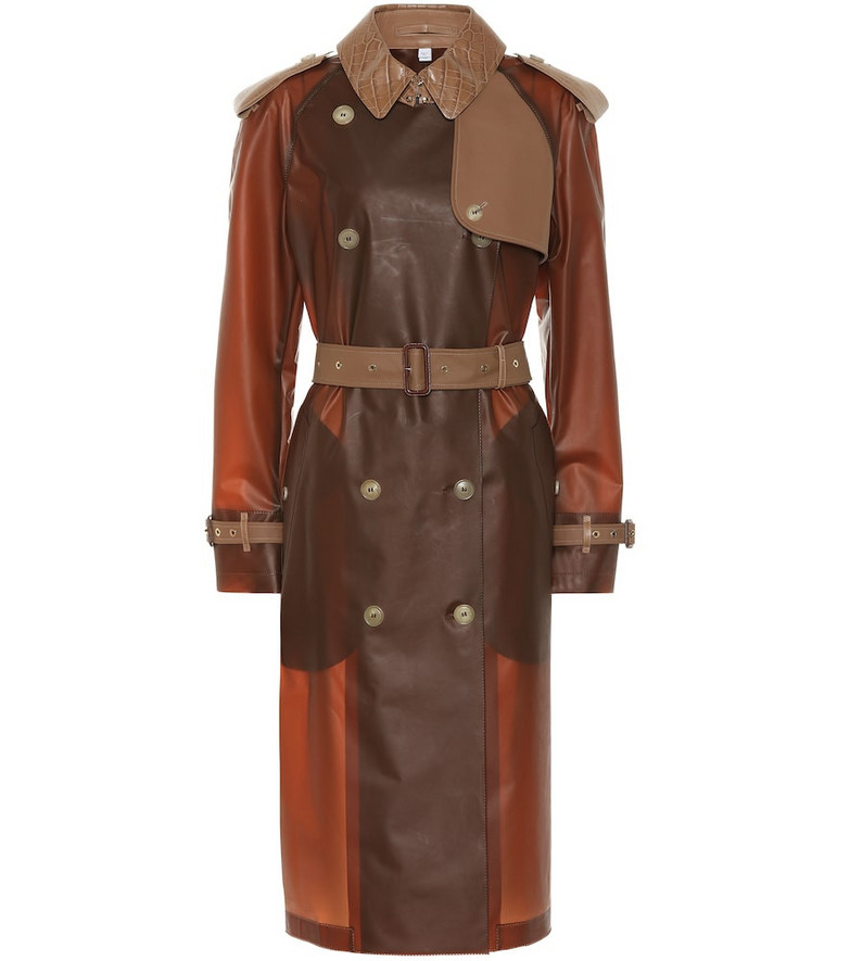 Burberry Leather-trimmed trench coat in brown