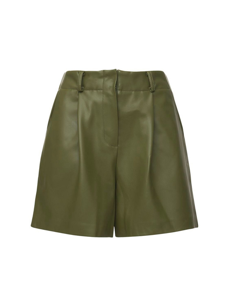 THE FRANKIE SHOP Manon Pleated Faux Leather Shorts in green