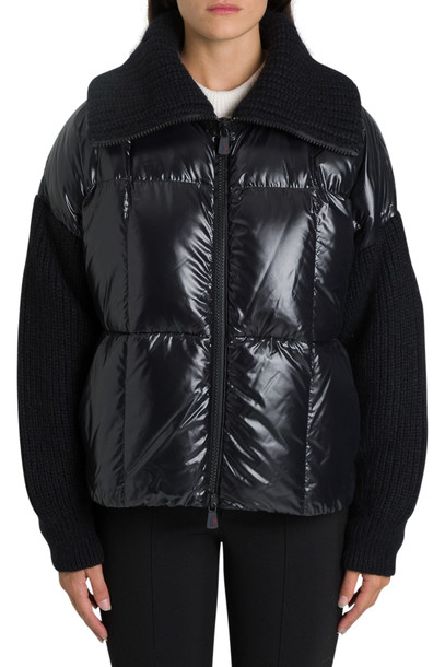 Moncler Grenoble Jacket In Laqué Nylon And Tricot Knit in nero