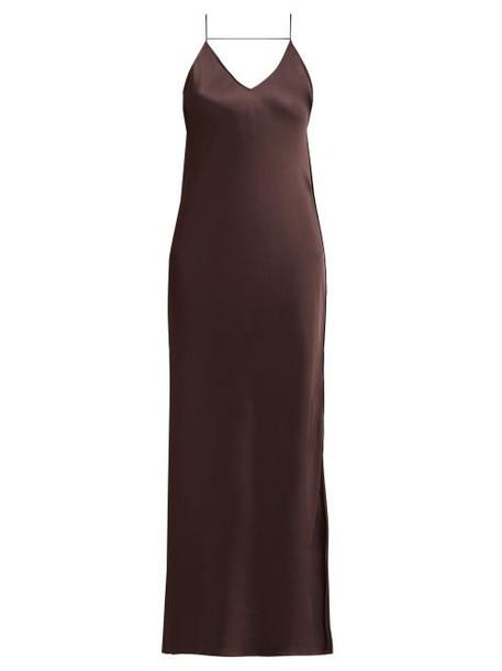Helmut Lang - Raw Edged Satin Slip Dress - Womens - Brown