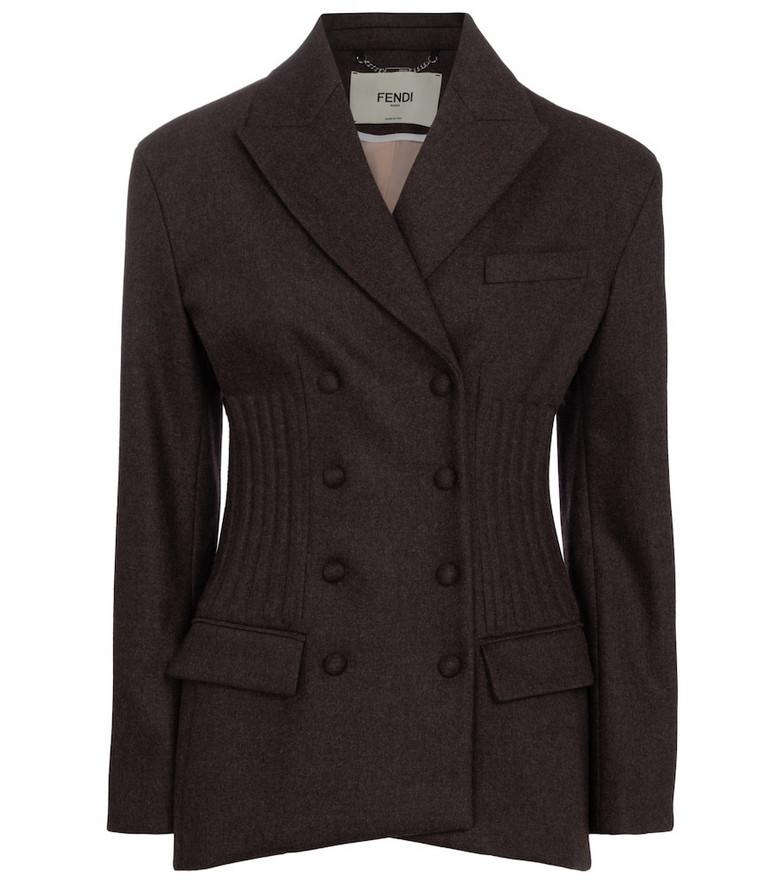 Fendi Wool and cashmere flannel blazer in brown