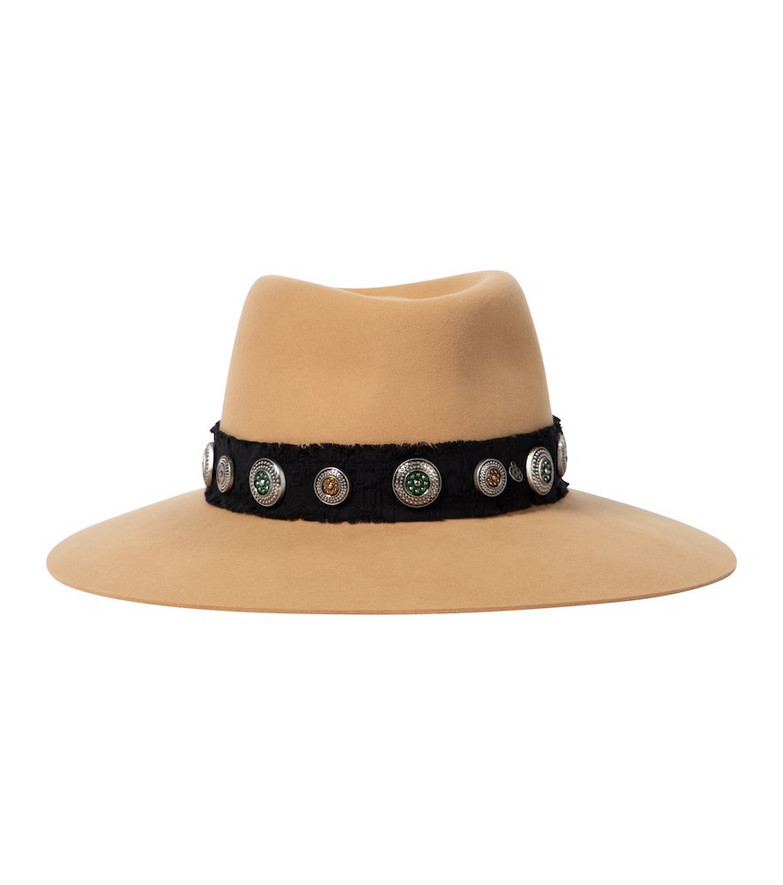 Maison Michel Charles studded felt fedora in brown