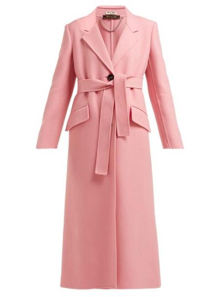 Miu Miu - Tie Waist Single Breasted Wool Coat - Womens - Pink