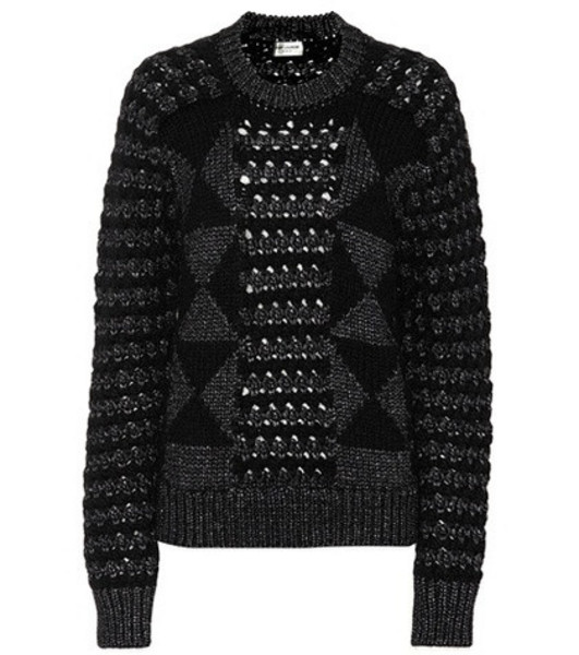 Saint Laurent Mohair and wool-blend sweater in black