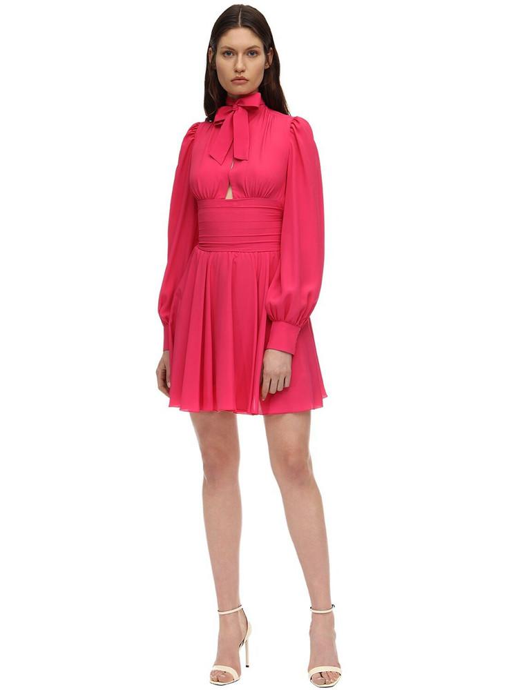 BROGNANO Silk Blend Mini Dress in fuchsia