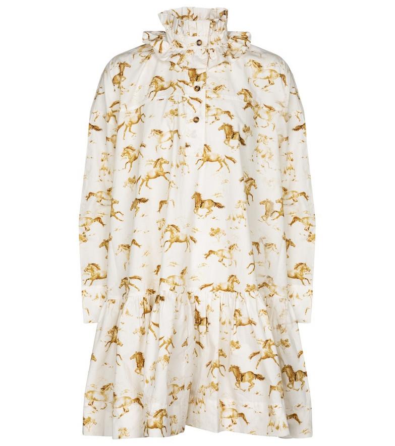 Ganni Printed cotton poplin minidress in white