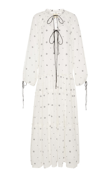 Anaak Fay Tie-Detailed Embroidered Cotton Maxi Dress in white