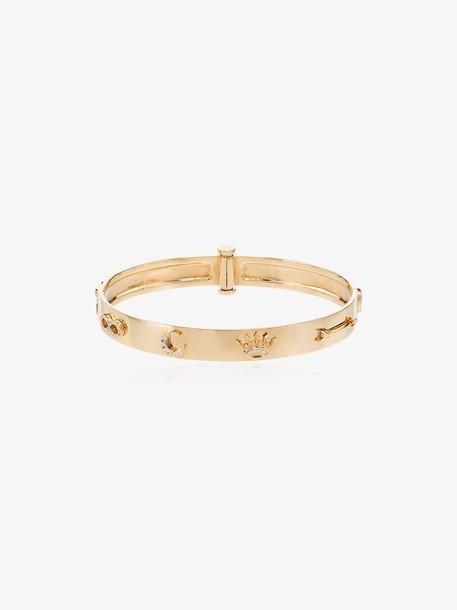 Foundrae Triptych symbol diamond-embellished 18K gold bangle