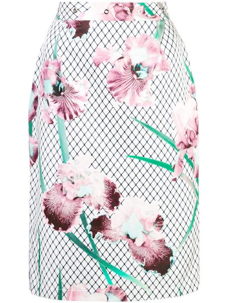Fleur Du Mal grommet pencil skirt in white