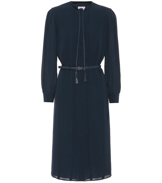 Salvatore Ferragamo Silk-crêpe dress in blue