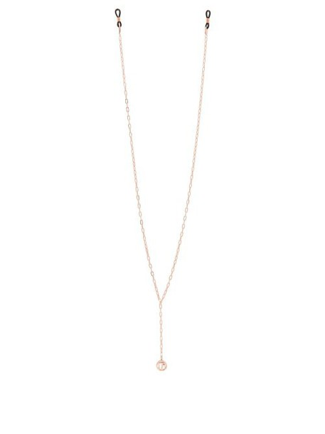 Linda Farrow - Logo Charm Gold Plated Sunglasses Chain - Womens - Rose Gold