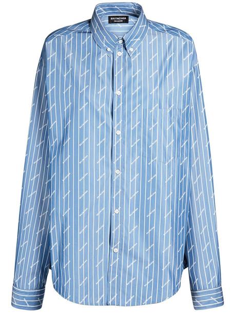 BALENCIAGA All Over Logo Cotton Blend Poplin Shirt in blue / white