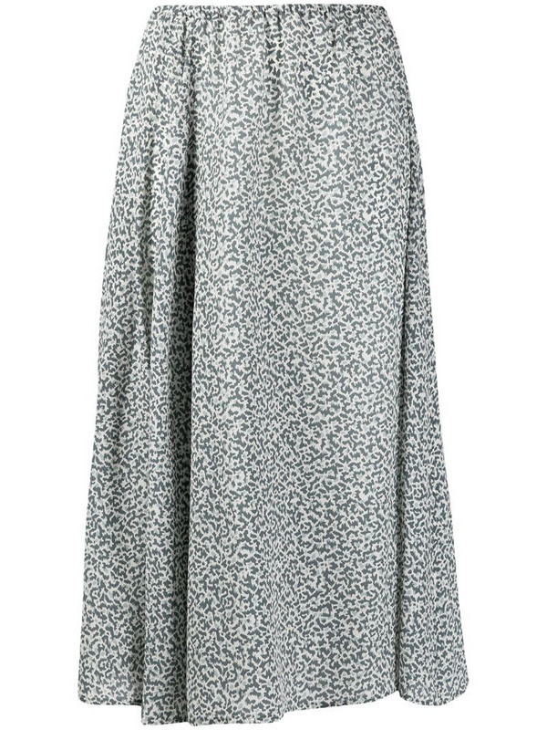Alysi patterned silk midi-skirt in grey