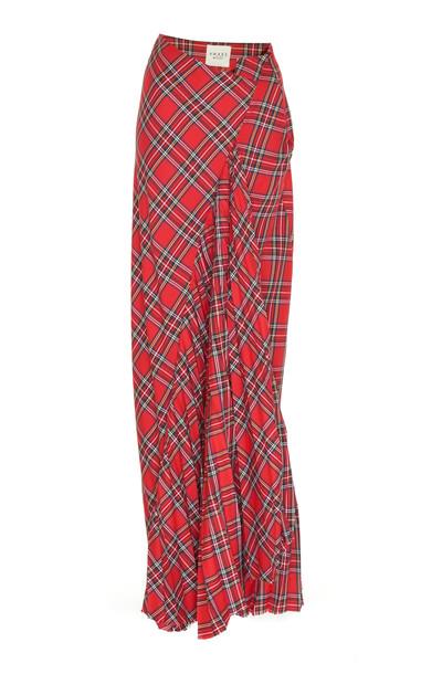 A.W.A.K.E. MODE Samhain Draped Tartan Twill Skirt