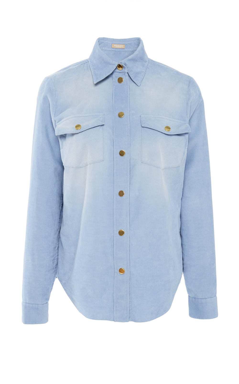 Michael Kors Collection Snap Corduroy Shirt in blue
