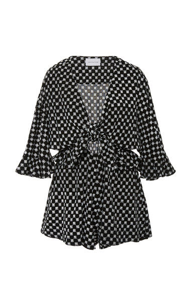 Significant Other Callie Checkerboard-Print Playsuit Size: 2 in black