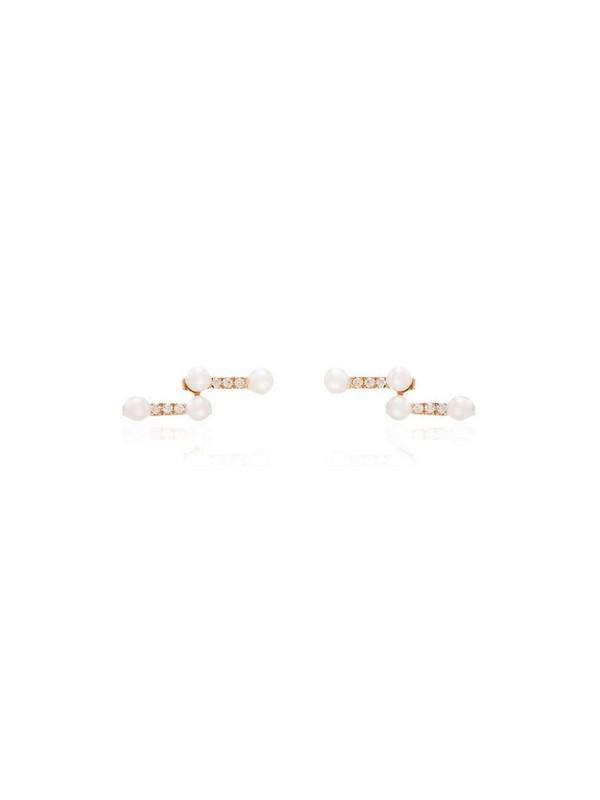 Dana Rebecca Designs 14kt rose gold diamond and pearl Sylvie earrings in metallic