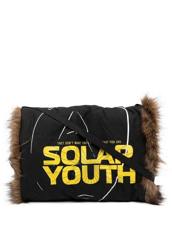 Raf Simons Solar Youth print shoulder bag in black