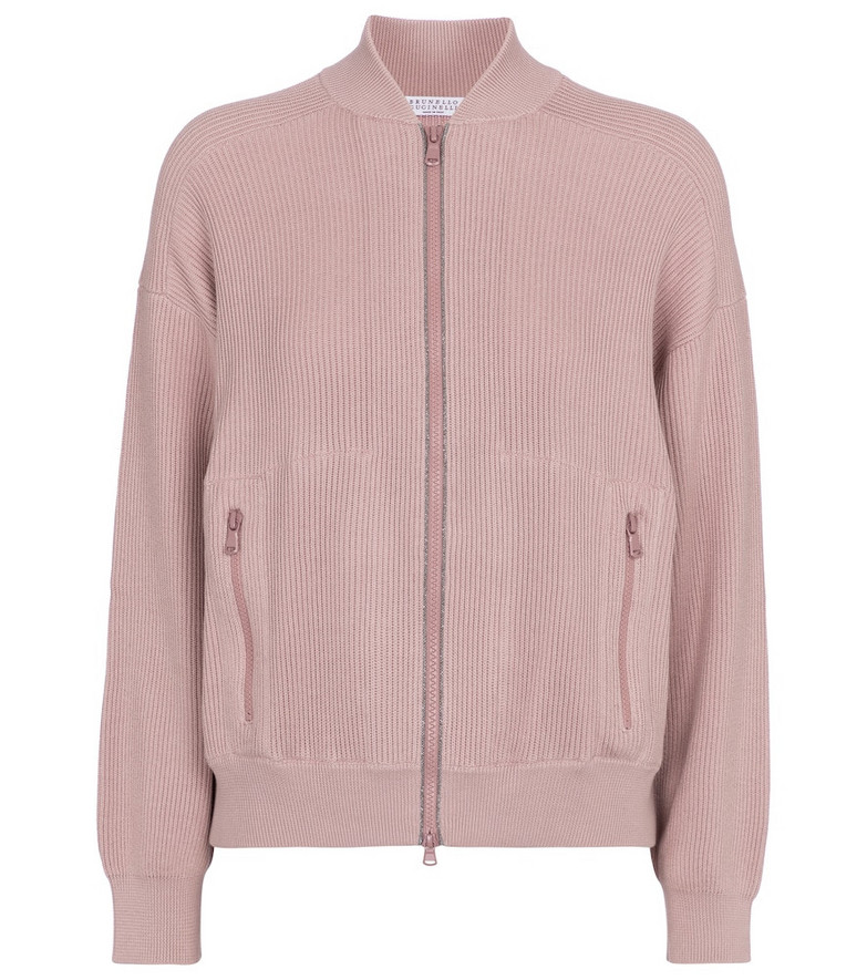 Brunello Cucinelli Embellished cotton bomber jacket in pink