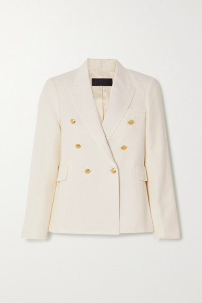 Nili Lotan - Henry Double-breasted Linen And Silk-blend Blazer - Ivory