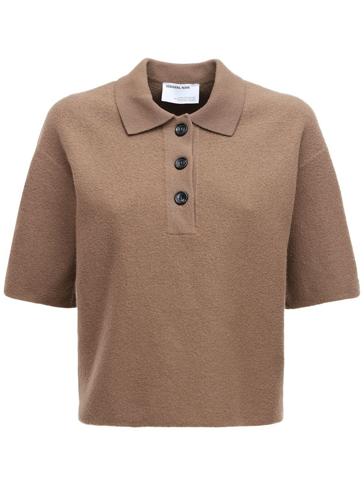 DESIGNERS REMIX Lucca Wool Knit Shirt in taupe
