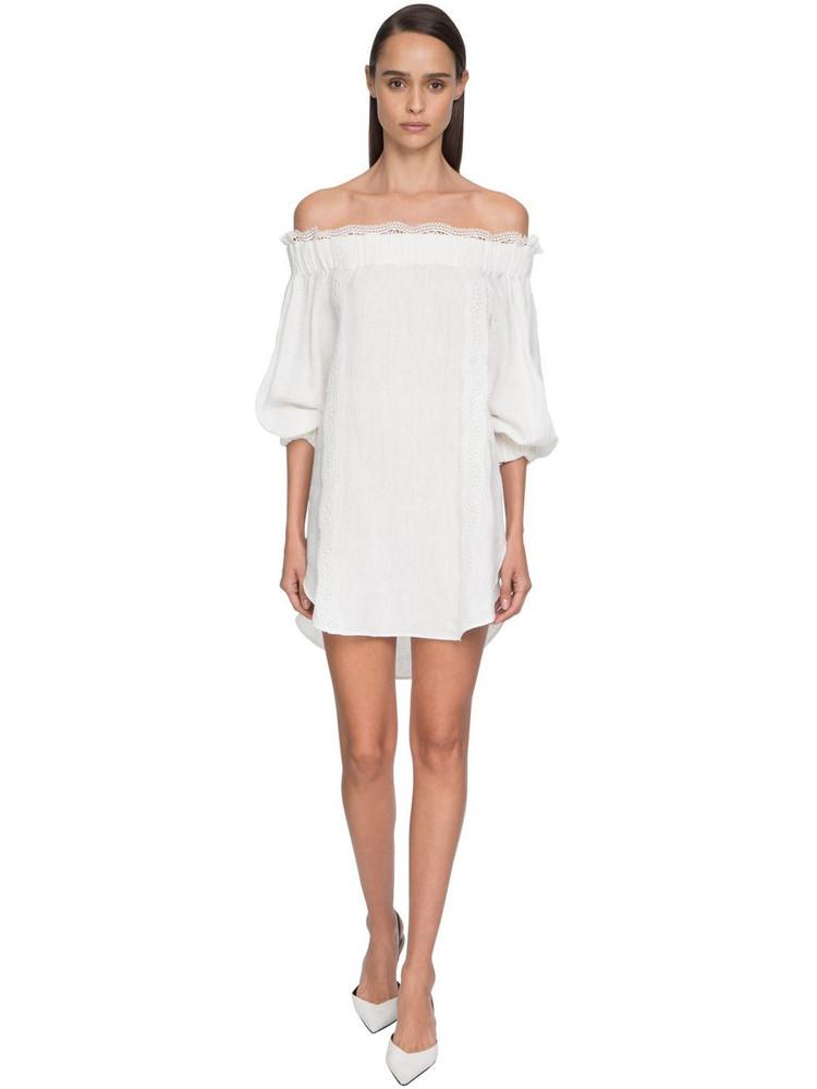 ERMANNO SCERVINO Off-the-shoulder Linen & Lace Mini Dress in white