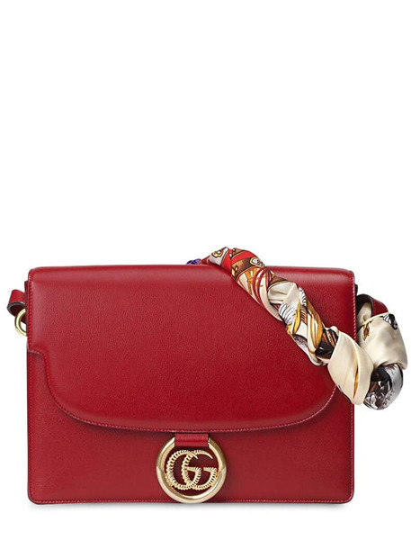 GUCCI Md Gg Ring Grained Leather Shoulder Bag