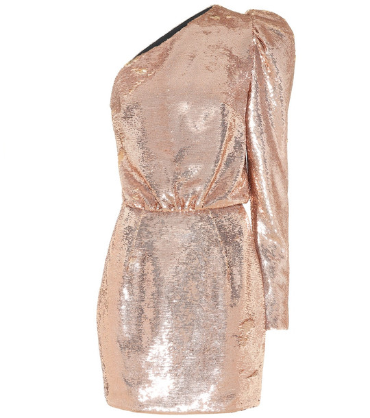 Alexandre Vauthier Sequined one-shoulder minidress in gold