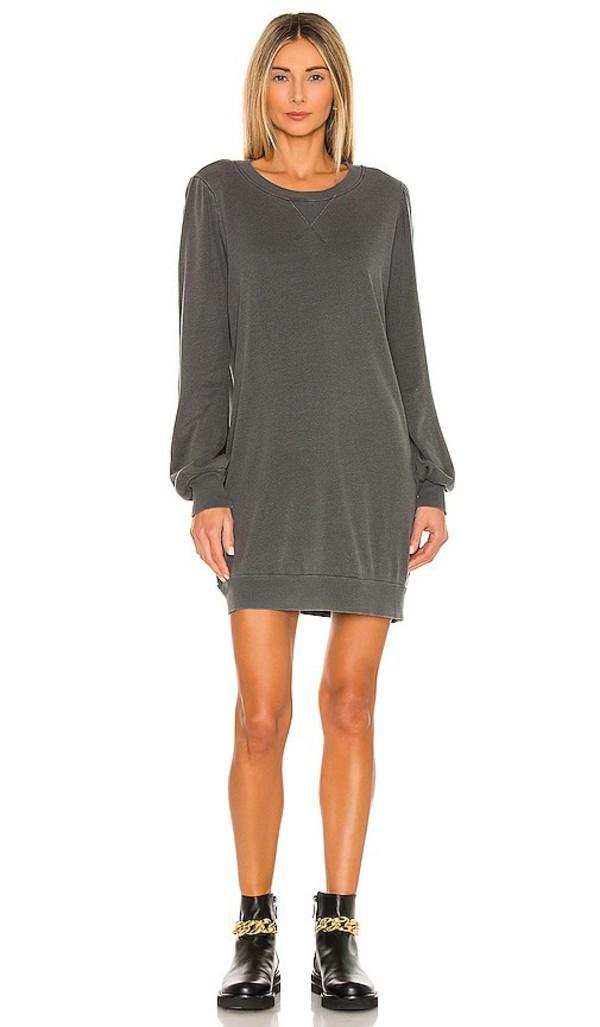 LA Made Just Landed Sweatshirt Dress in Charcoal in black