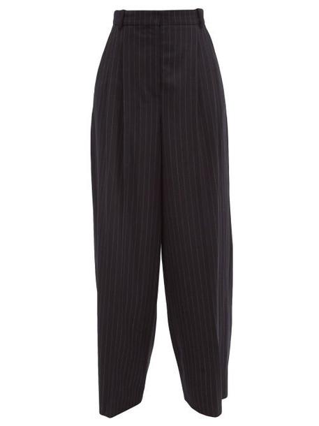 Joseph - Tima Pinstriped Wool-blend Wide-leg Trousers - Womens - Navy