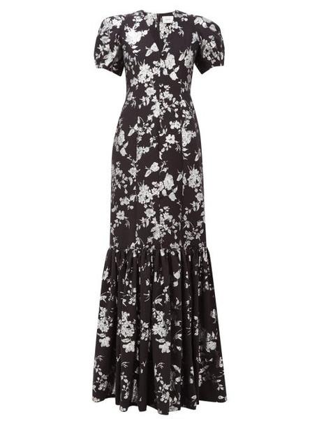 Erdem - Rosetta Puffed Sleeve Floral Brocade Gown - Womens - Black Silver