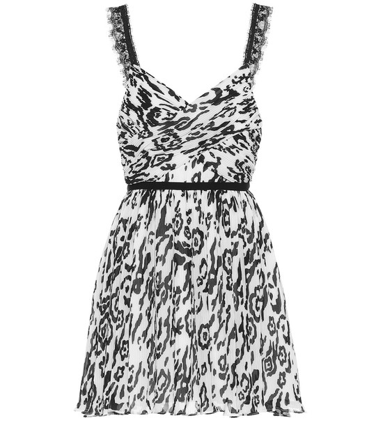 Self-Portrait Animal-print mini dress in white