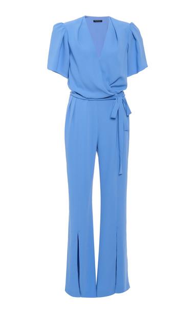 Burnett New York Wrap-Front Crepe Jumpsuit Size: 0 in blue