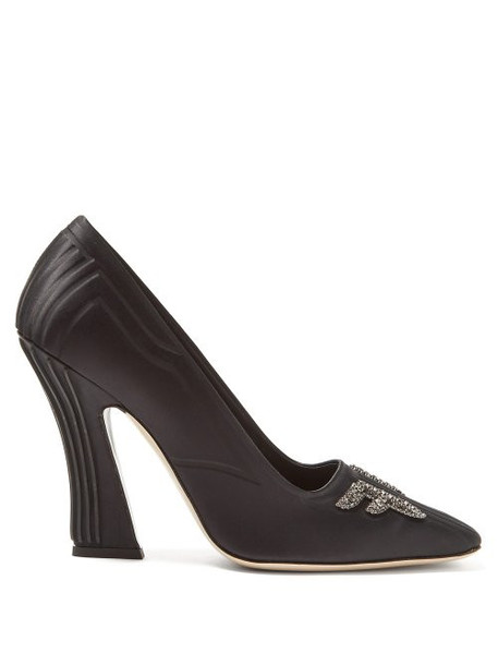 Fendi - Freedom Crystal Logo Square Toe Satin Pumps - Womens - Black