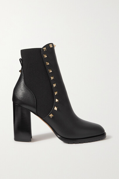 Valentino - Valentino Garavani Rockstud Beatle Textured-leather Ankle Boots - Black