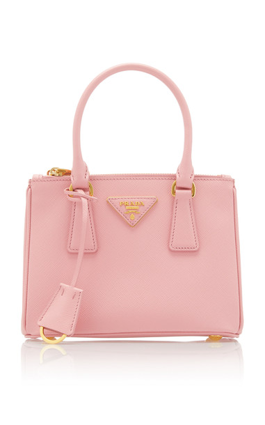 Prada Small Textured-Leather Tote in pink