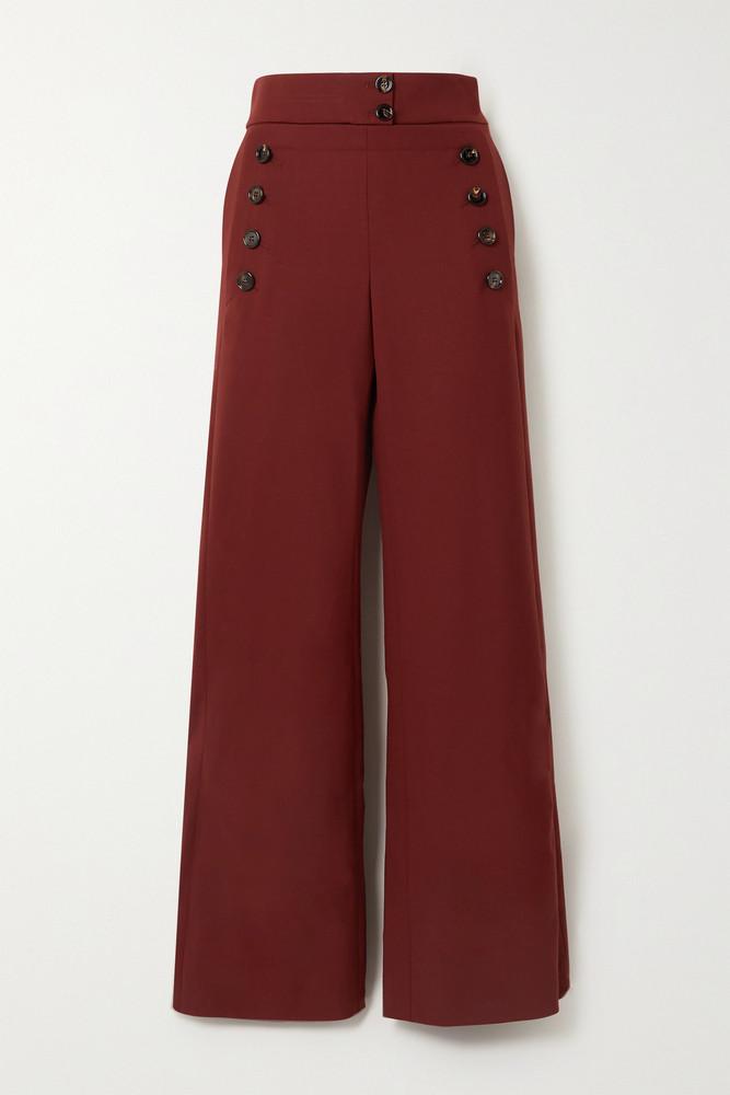 Chloé Chloé - Stretch-wool Wide-leg Pants - Red