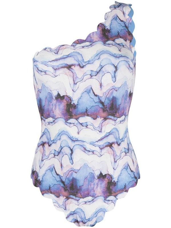 Marysia watercolour print swimsuit in blue