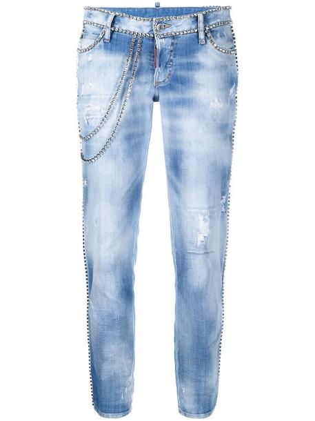 Dsquared2 crystal-embellished jeans in blue